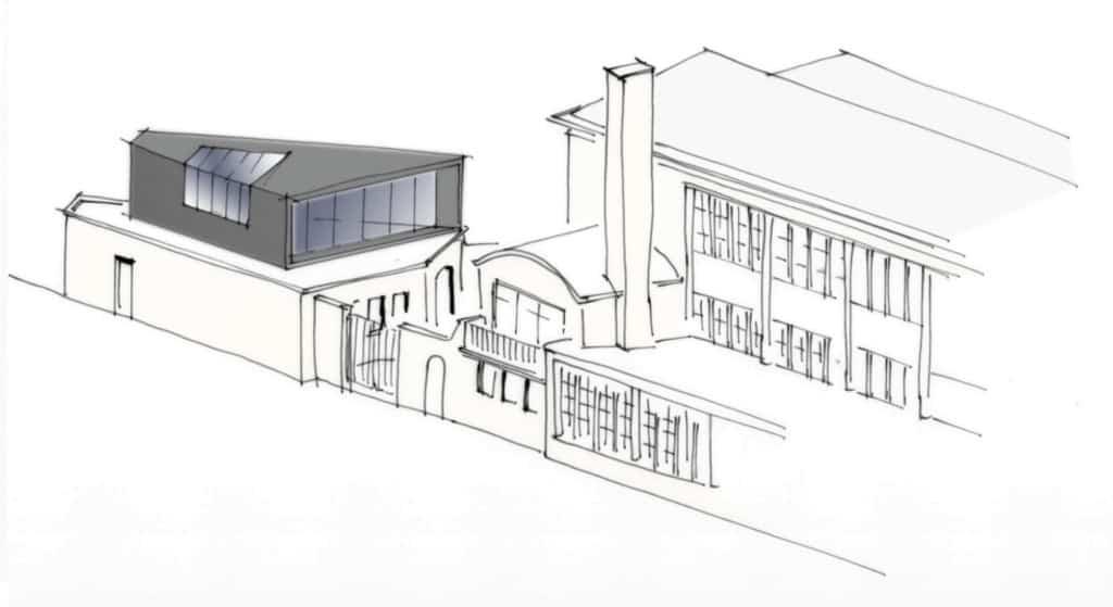 Schets transformatie Oude Postkantoor Hilversum door Ten Brincke Bouw