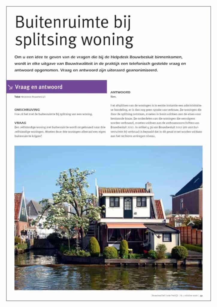 Helpdeskvraag Bouwbesluit; Hoe zit het met de buitenruimte bij splitsing van een woning?