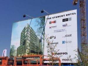 Bouwbord Student Hotel Groningen