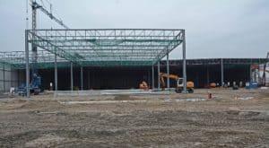 Bouwfoto Bedrijfshal Scania en Westerman logistics, Hasselt NL