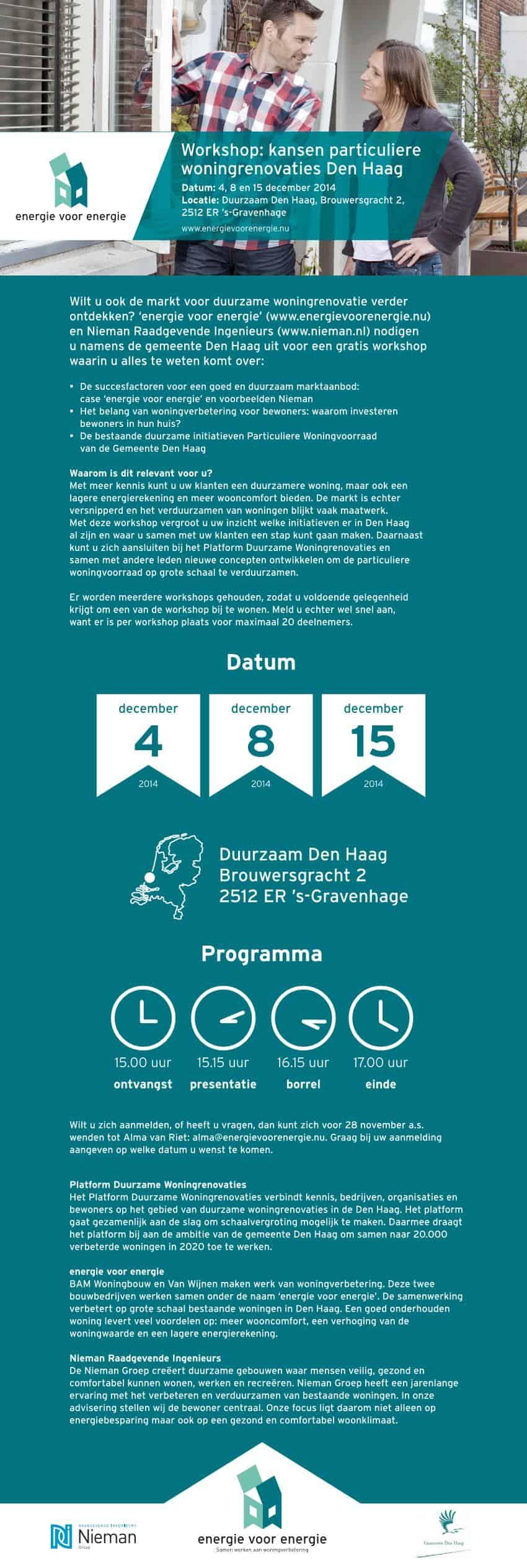 EVE Uitnodiging Workshop Platform Duurzame Woningrenovaties