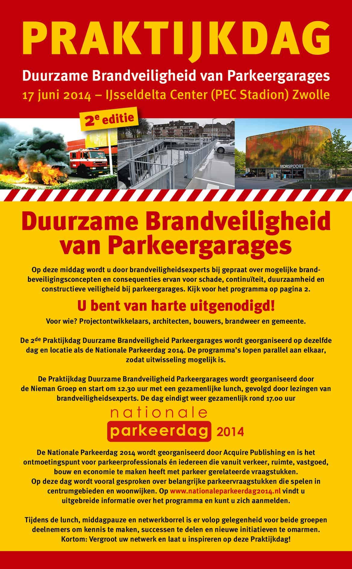 Flyer Praktijkdag Duurzame Brandveiligheid van Parkeergarages pag 1