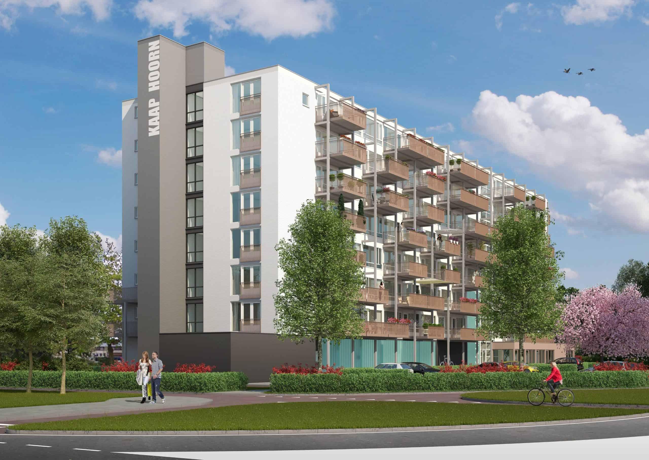 Het Liornehuis nieuwe stijl, met als extra de royale balkons. (Illustraties GeO Architecten/Constructiebureau Tentij)