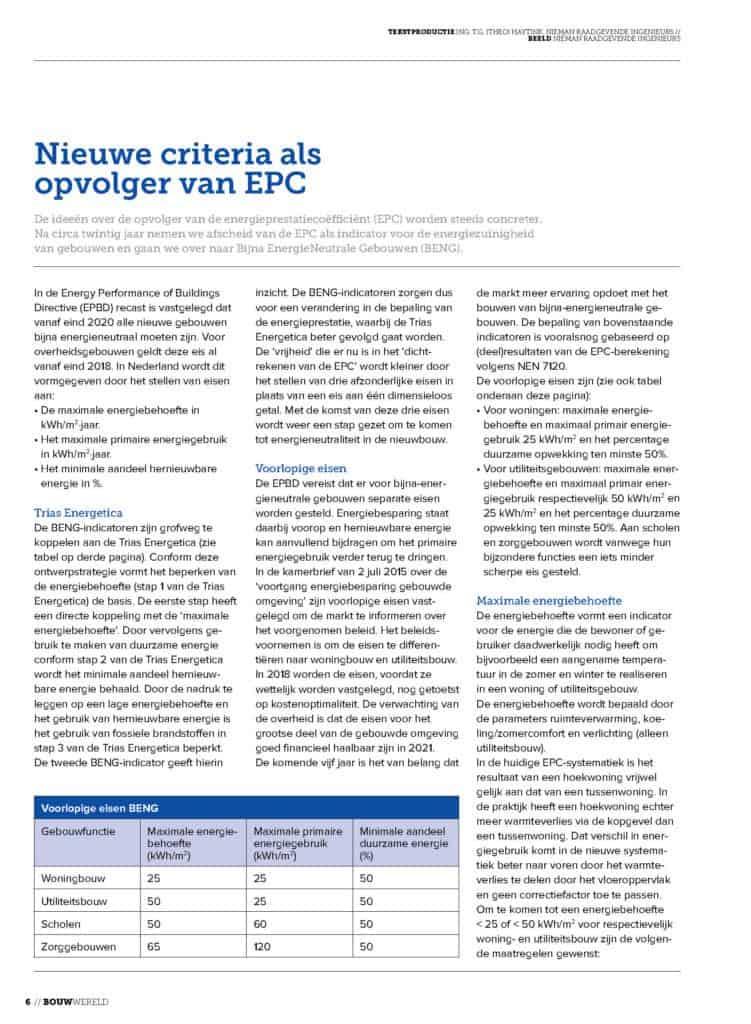 Nieuwe criteria als opvolger van EPC_1