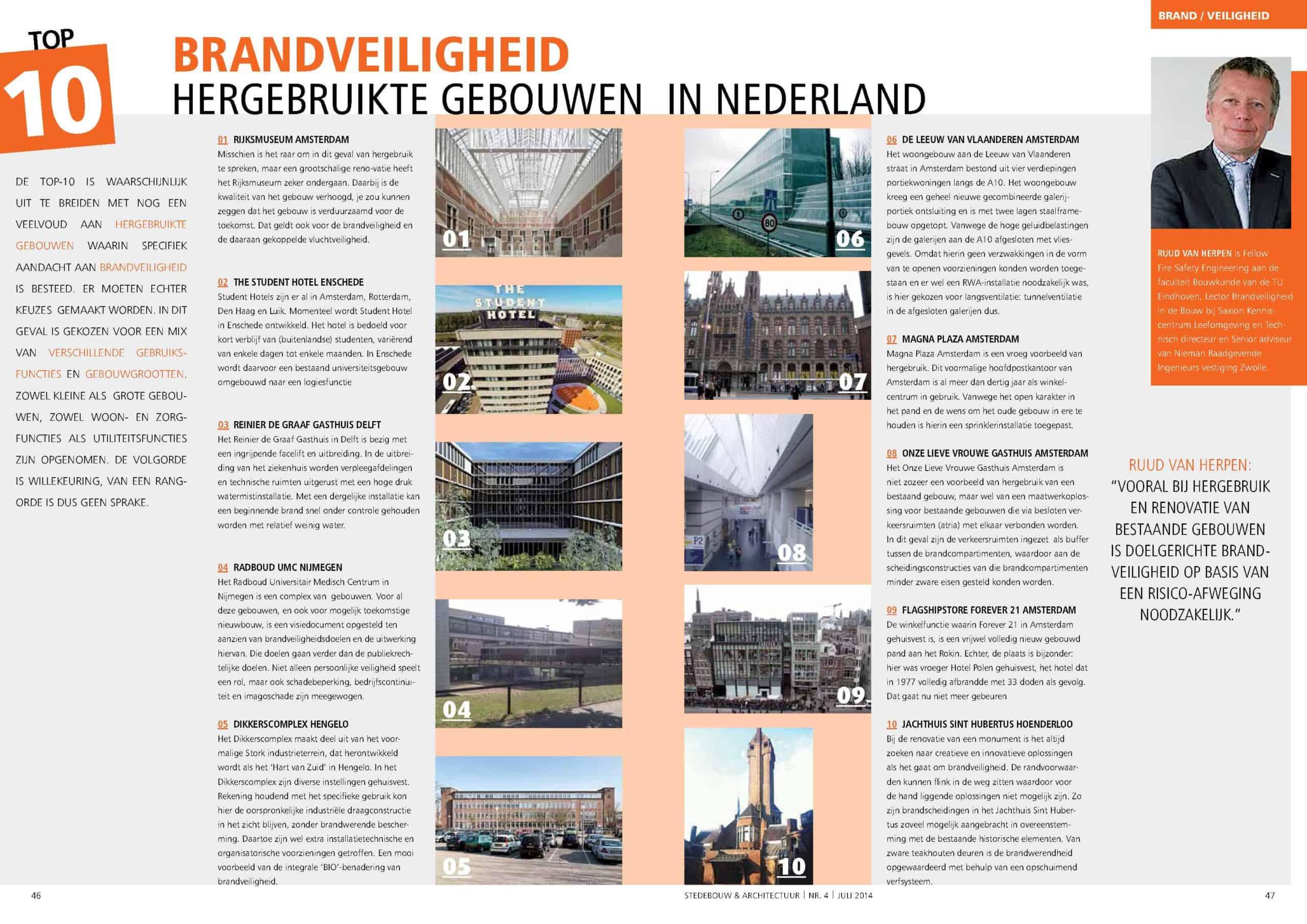Top 10 Brandveiligheid hergebruikte gebouwen in Nederland