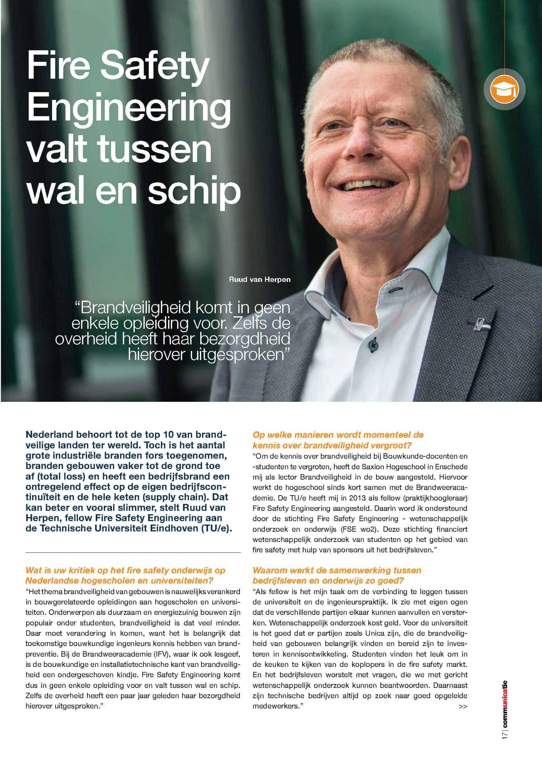 Ruud van Herpen is voor het UNICA magazine geïnterviewd over hoe het onderwijs en bedrijfsleven samen werken aan slimme brandveiligheid