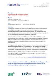 Uitnodiging Expertclass Next Generation 11-09-2014