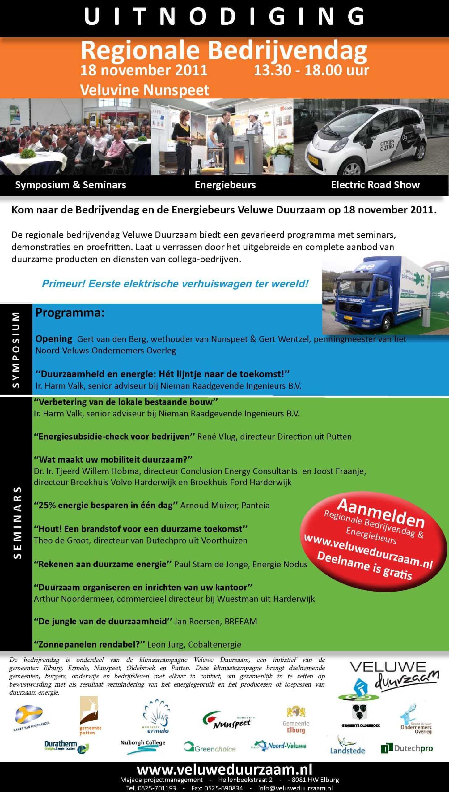Programma Energiebeurs Veluwe Duurzaam - 18 november 2011