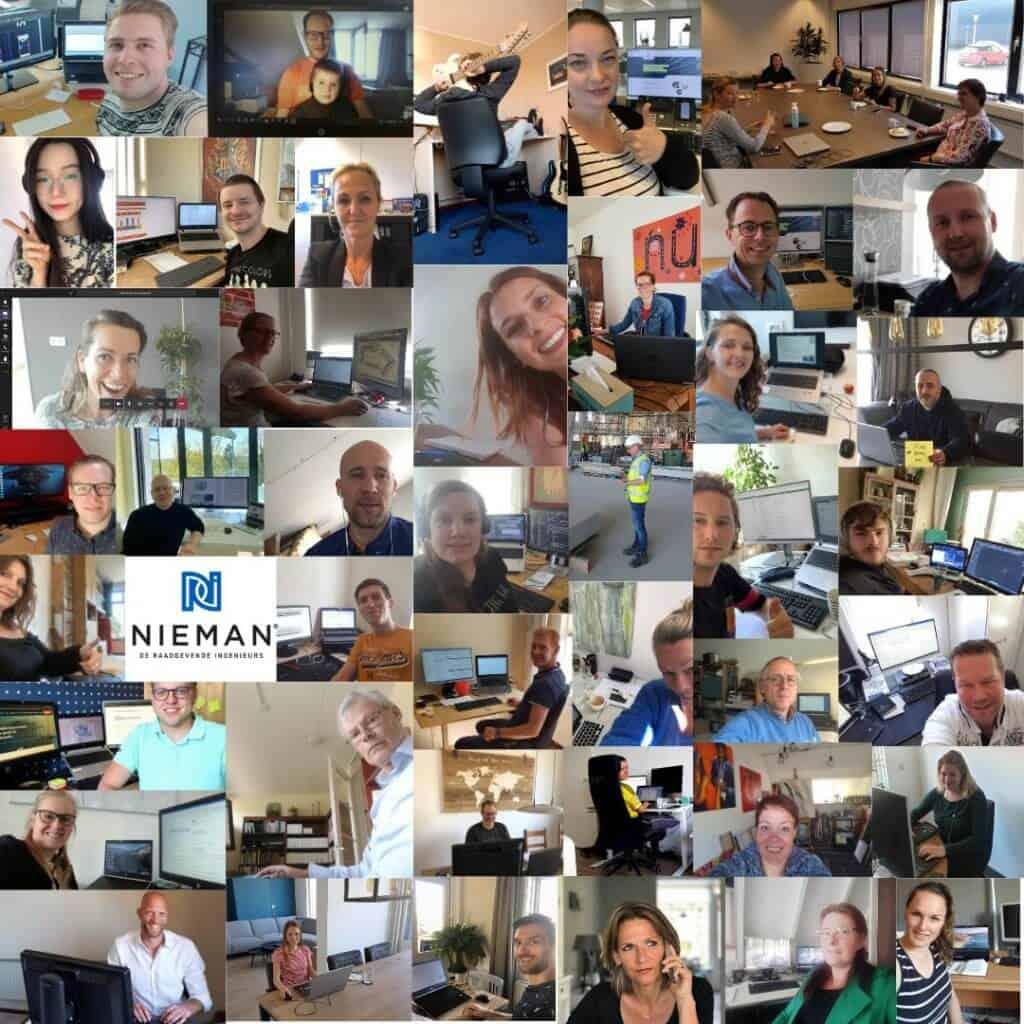 Collage Nieman werkt thuis
