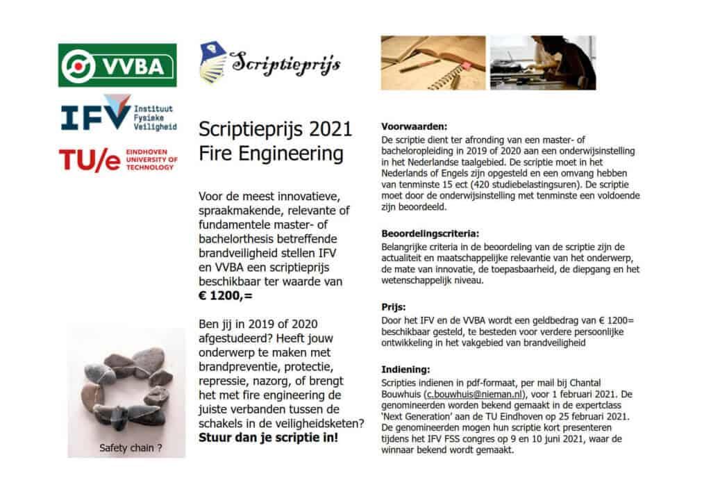 Flyer Scriptieprijs Fire Engineering 2021