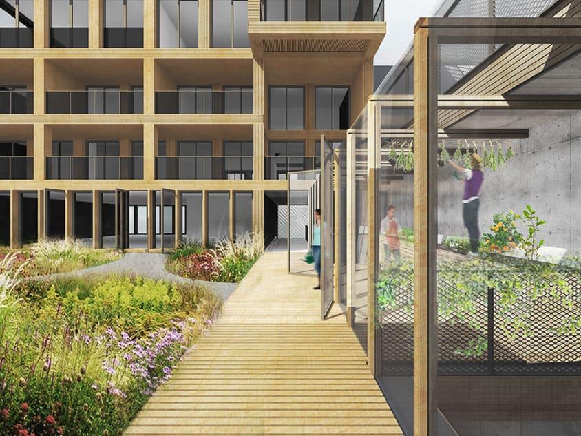 impressie flexibele woonwerkgebouw Het Hooghout door ANA architecten