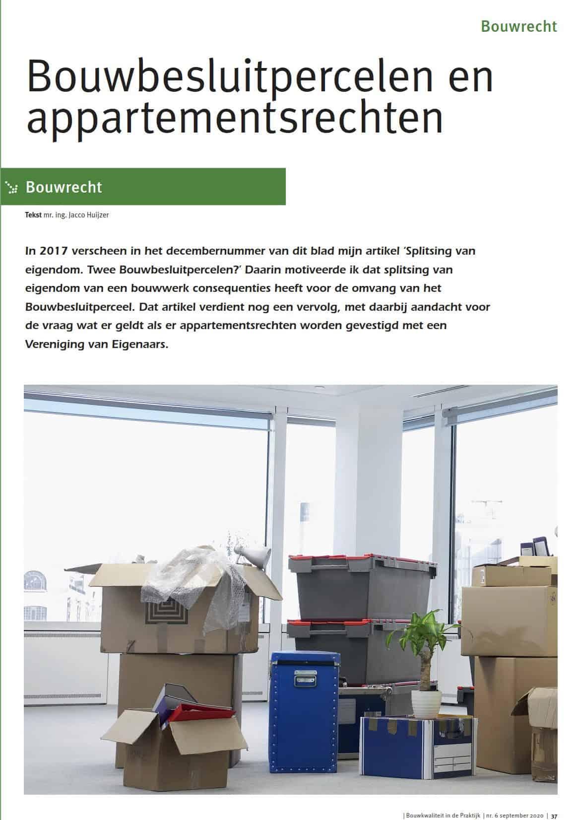 Bouwbesluitpercelen en appartementsrechten