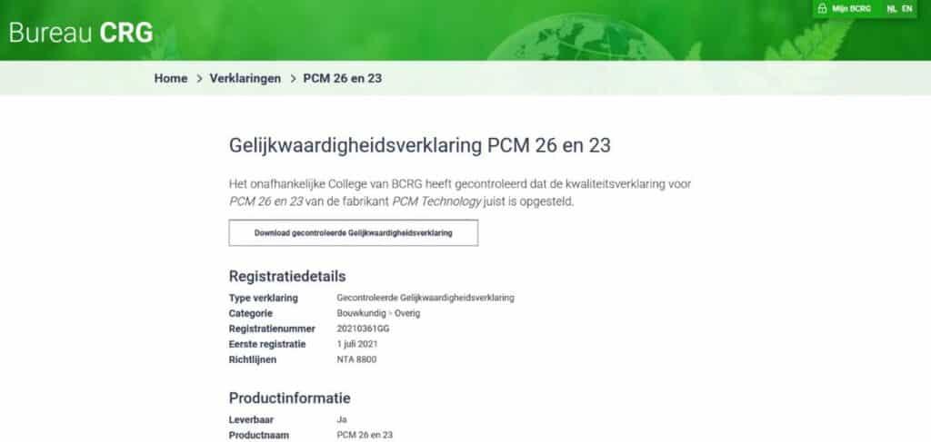 Bureau CRG Gelijkwaardigheidsverklaring PCM 26 en 23
